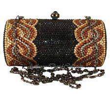 Anthony David Black & Gold Crystal Evening Bag Purse with Swarovski Crystals