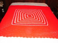 NEW Handmade Handcrafted Crochet Afghan Throw Blanket ~ Granny square Red white