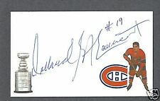 Dollard St. Laurent signed Canadiens hockey index card