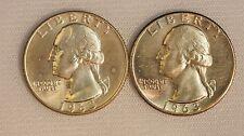 1963 P-D Silver Washington Quarter Dollars- 2 coins- 25C