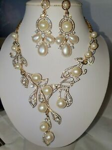 Pearl & Clear Diamante crystal Necklace & earrings set wedding prom new set c