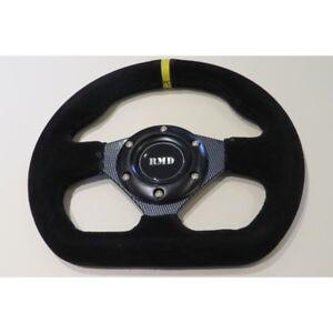 "RMD Steering Wheel Suede 255mm 10"" Inch Flat D Shape IVA Race Car Carbon Look"