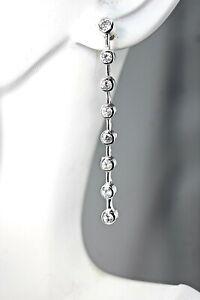 925 Sterling Silver Long Chandelier Earrings Cubic Zirconia Dangle CZ Italian