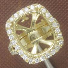 11x13mm Cushion Cut Solid 14kt 585 Yellow Gold Natural Diamond Semi Mount Ring