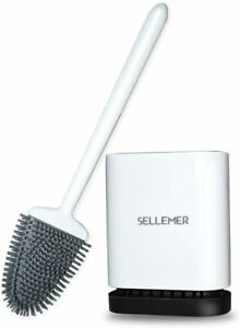 Sellemer Toilet Brush,Deep Cleaner Silicone Toilet Brushes With No-Slip Long Pla