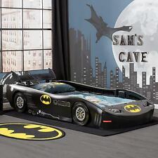 Kids Batman Batmobile Twin Bed Child Car Wheels Spoiler Furniture Guardrails New