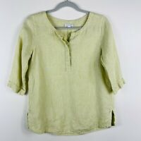 J Jill Love Linen Size XS Striped Linen Popover Top Green White 3/4 Sleeve