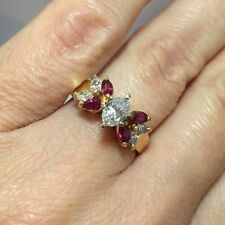 Vintage 14k Yellow Gold 1.3 Ct Ruby Diamond Oval Marquise Solitaire Wedding Ring