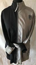 Herren Sportjacke Fitnessjacke Trainingsjacke Gr L grau schwarz Baumwollmix
