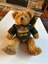 Vintage Harrods 13 Inch Plush Teddy Bear w/Green Harrods Sweater & Tag London Uk