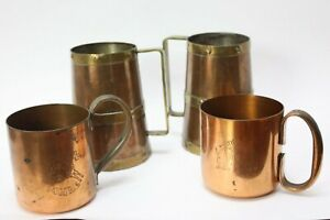 LOT OF 4 Vintage Barware Moscow Mule Copper Cup Mug Diff Sizes 1950's 1960's