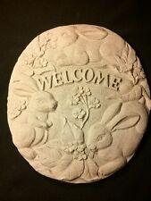ADORABLE!! Welcome Cement Wall Plaque Stepping Stone Garden Decor Bunny Rabbit