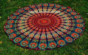 """72"""" Mandala Round New Indian Hippie Beach Rug Bohemian Tapestry Roundie Yoga Mat"""