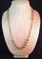 Vintage Long Statement Necklace Gold Tone Metal Beads Classic Chic 5Q
