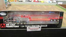DCP #32524 BLACK KW W900 SEMI CAB TRUCK W/ CUSTOM PARTS & LOWBOY TRAILER 1:64/FC