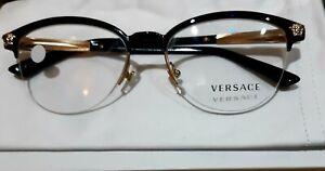 VERSACE Designer Glasses Eyewear Black / Half Rim Frames NEW