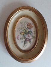 Handmade Italian Gold Leaf Wood Frame Signed Painting on Fabric Garden Flowers 2