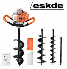 Petrol Earth Auger Fence Post Hole Borer Ground Drill + 3 Bits + Ext eSkde 52cc