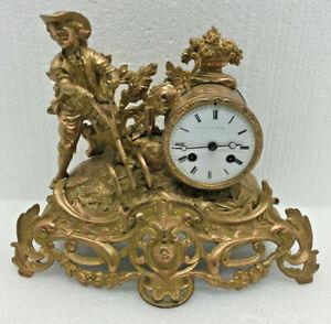 Antique French L Marti Figural Mantel Clock With Farming Theme