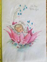 VINTAGE BABY CHRISTENING CARD GLITTER ROSES ANGELS PINK BLUE HALLMARK