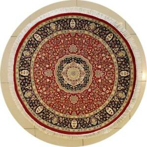 Rugstc 5x5 Senneh Pak Persian Red Area Rug, Hand-Knotted,Floral with Silk/Wool