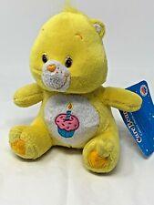 Nanco Care Bears Yellow Plush Birthday Bear Stuffed Animal Cupcake Design Toy