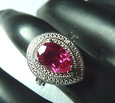 2.55ct Created Ruby/Diamond 925 Sterling Silver Cocktail Ring US (7) AU (O)