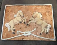 """3d Horse Wood Carving Picture Plaque 13"""" x 18"""" handmade vintage horses ranch"""