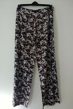 CALVIN KLEIN PALAZZO TROUSERS BROWN & WHITE UK  SIZE 12
