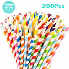 200 Colourful Paper Drinking Straws Straw Retro Vintage Striped Party Wedding AY