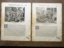 LOT 2 GRAVURES 18e s LAZARE (mauvais riche, résurrection) BIBLE Sacy MERIAN 1770