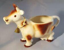 Vintage Germany Brown/White Ceramic Cow Creamer W/Brass Bell