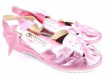 Vtg Cherokee Sandals Wedge Heel Ankle Strap Metallic Pink Lame Leather Sz 7 Nos