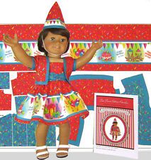 "18 inch Doll Clothes Kit Birthday Dress Shrug Jacket and Hat 18"" Doll Panel DIY"