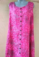 Batik Bali Indonesia Pink Fern Leaf  Sleeveless Long Dress Hippie Boho  NWT -L