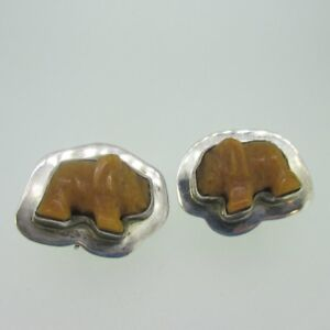 Sterling Silver Carved Stone Elephant Animal AKR Amy Kahn Russell Earrings