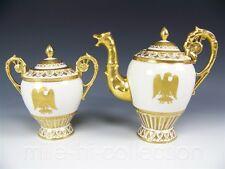 """LIMOGES FRANCE HAND PAINTED """"GOLDEN EAGLE"""" COFFEE TEA POT & SUGAR JAR"""
