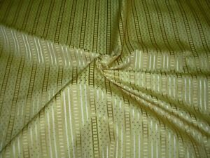 9 YDS 100% SILK STRIPES POLKA DOTS GOLD EMBROIDERED DRAPERY FABRIC FOR LESS