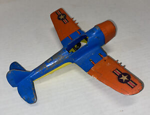 Hubley Kiddie Toys Airplane War Fighter Metal Plane Blue/orange vintage 495