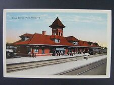 Paris Texas Union Station Railroad Train Vintage White Border Postcard 1915-30