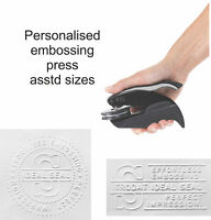 Personalised/Customised embossing rubber stamp press/seal/plier asstd sizes