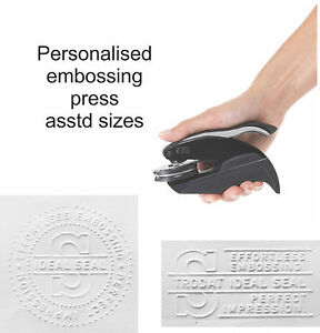 Personalised embossing rubber stamp press seal plier company business name logo