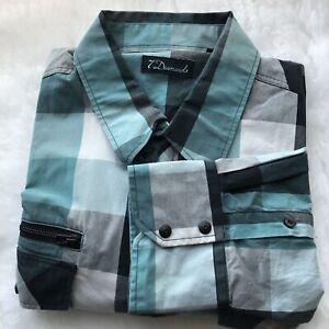 7 Diamonds Mens XL Green Black Buffalo Plaid Button Up Long Sleeve Shirt