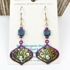Adajio Earrings Purple and Green Deco Teardrop with Topaz Rhinestone 7842