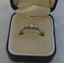 Stunning Vintage 18 Carat Gold Triple Diamond Ring - Size L