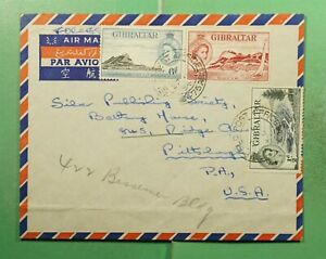 DR WHO 1954 GIBRALTAR FPO 475 FORCES AIRMAIL TO USA  g16009