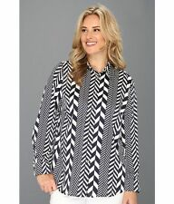 MICHAEL KORS PLUS SIZE 2X LEAGUE STRIPE LONG SLEEVE FIT SHIRT NWT ORIG $120