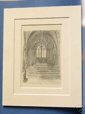 NORWICH CATHEDRAL PRIOR'S DOOR CLOISTERS MOUNTED PRINT