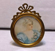 Antique 19th C. Miniature Watercolor French Woman w/ Ormolu Frame