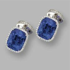14k White Gold Cuff Link Men's Wedding Jewelry Blue Cushion Cut Halo Man Gift